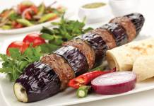 ggplant kebab with yoghurt marinated chicken; Patlicanli Kebap