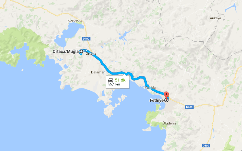 How to go to Ortaca from Fethiye